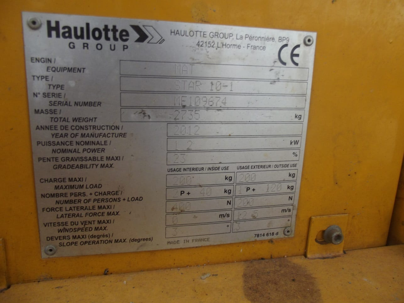 10 Metre Akülü Dikey Personel Yükseltici Platform – HAULOTTE-